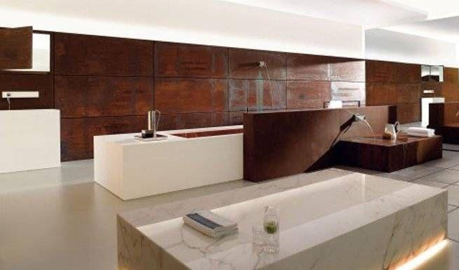 Koperen keuken toepassing als muurbekleding keuken pinterest koperen keuken koper en - Muurbekleding houten badkamer ...