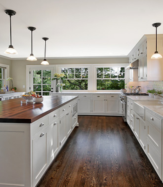 White Kitchen Counter: Wood Floors, Butcher Block, White