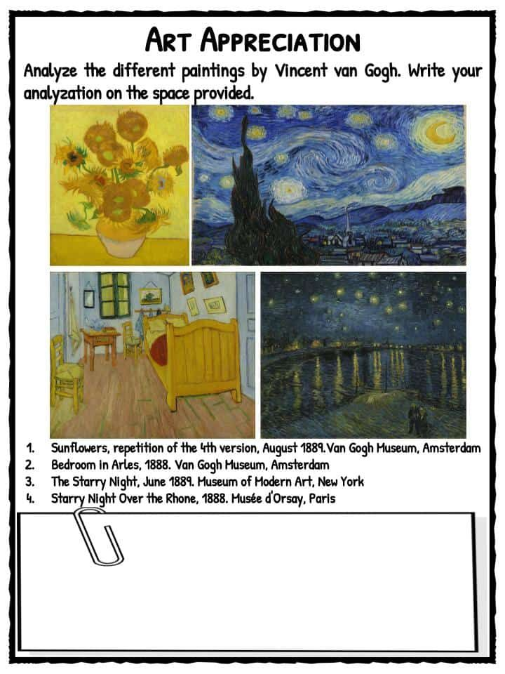 Vincent Van Gogh facts & worksheets Includes lesson plans & study