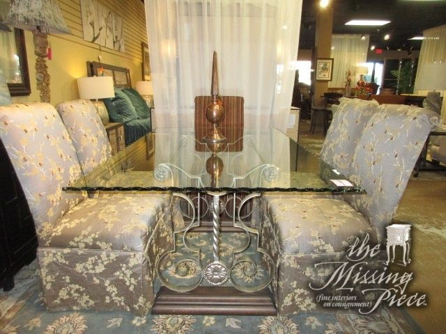 Wave Edge Glass Top Dining Table On An Ornate Base With Six Skirted Parsons  Chairs. The Two End Chairs Are Done In A Striped Upholstery U0026 The Side  Chairs ...