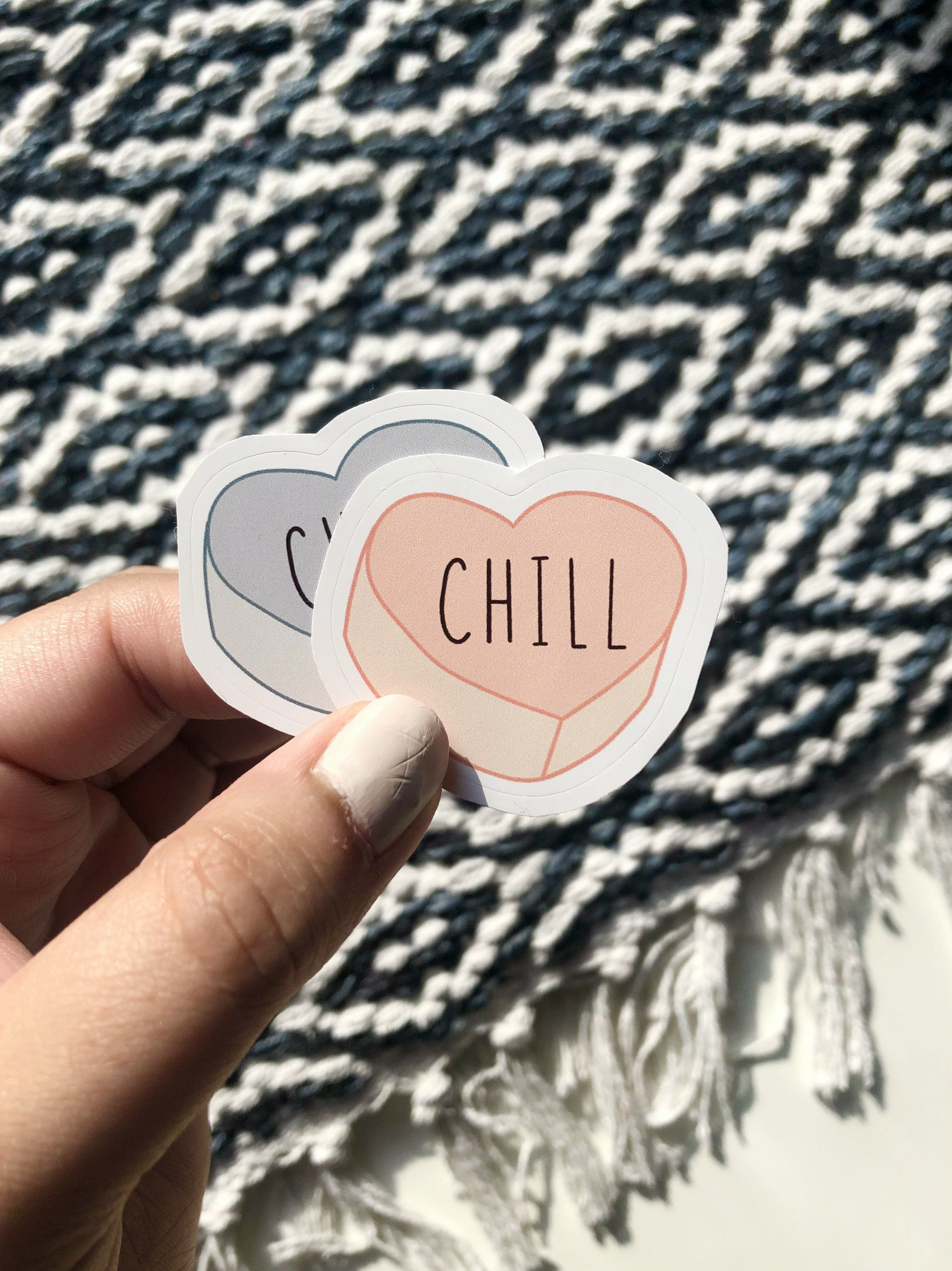 Chill Candy Hearts Sticker, Aesthetic Valentine's Day Sticker, Lonely Hearts Sticker, Sugar Candy Sticker, Laptop Sarcastic Funny Sticker