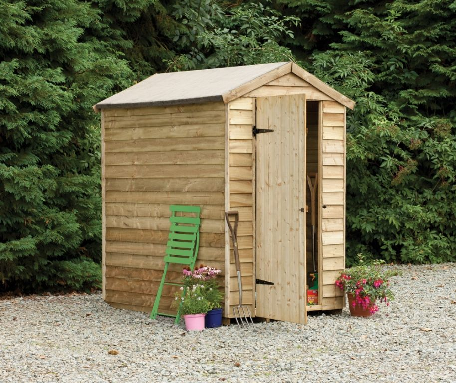 4x6 Overlap Apex Security Shed | This Wooden Shed Has No Windows, Providing  The Contents