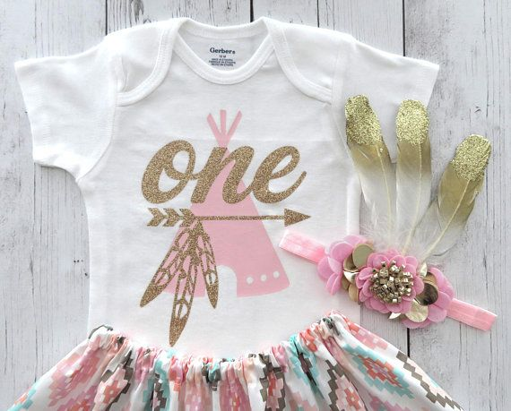 54cae87cfb77 Wild One Birthday Outfit with feather headband and mocassins ...