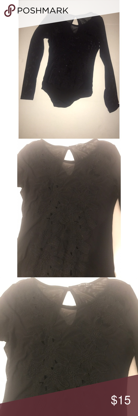 66fbec68e9 Haute Monde Black Body Suit L Size L See through material with floral  embroidering Haute Monde Intimates   Sleepwear Shapewear