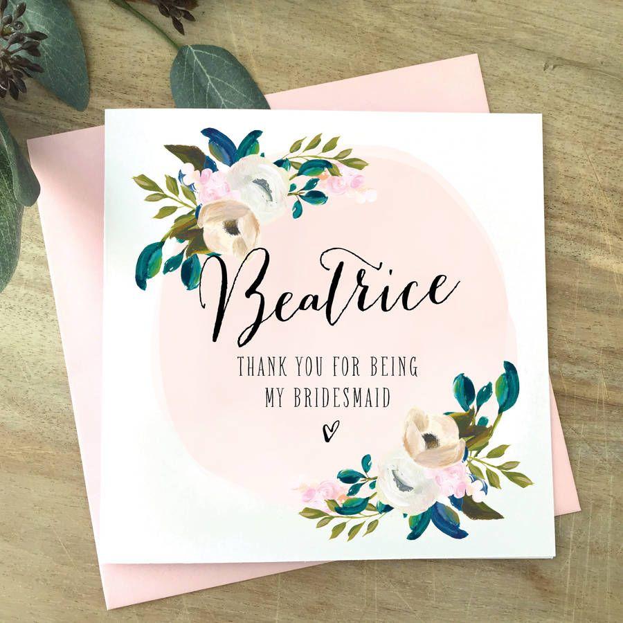 Personalised Bridesmaid Thank You Card | Bridesmaid | Maids