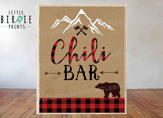 Chili bar sign LUMBERJACK Chili bar sign Lumberjack First Birthday Party -  Lumberjack baby shower i #chilibar