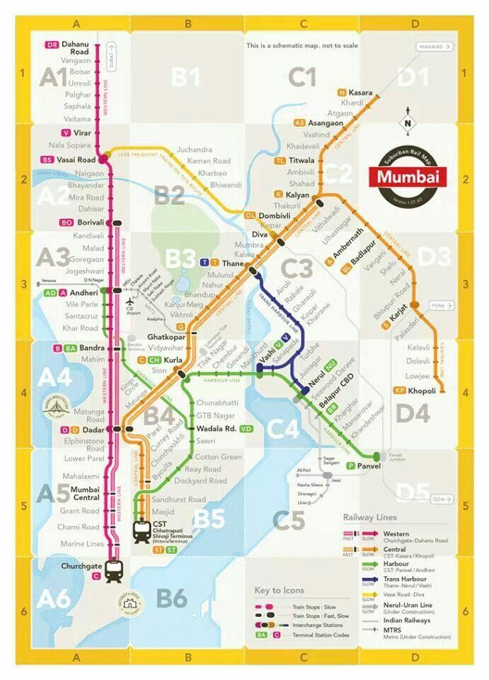 Mumbai Subway Map.Mumbai Train Map Mumbai Mumbai Map Train Map