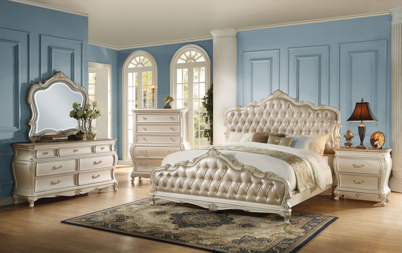 Luxurious Chantelle Pearl & Rose Gold King Bedroom Set 6pc + Free ...