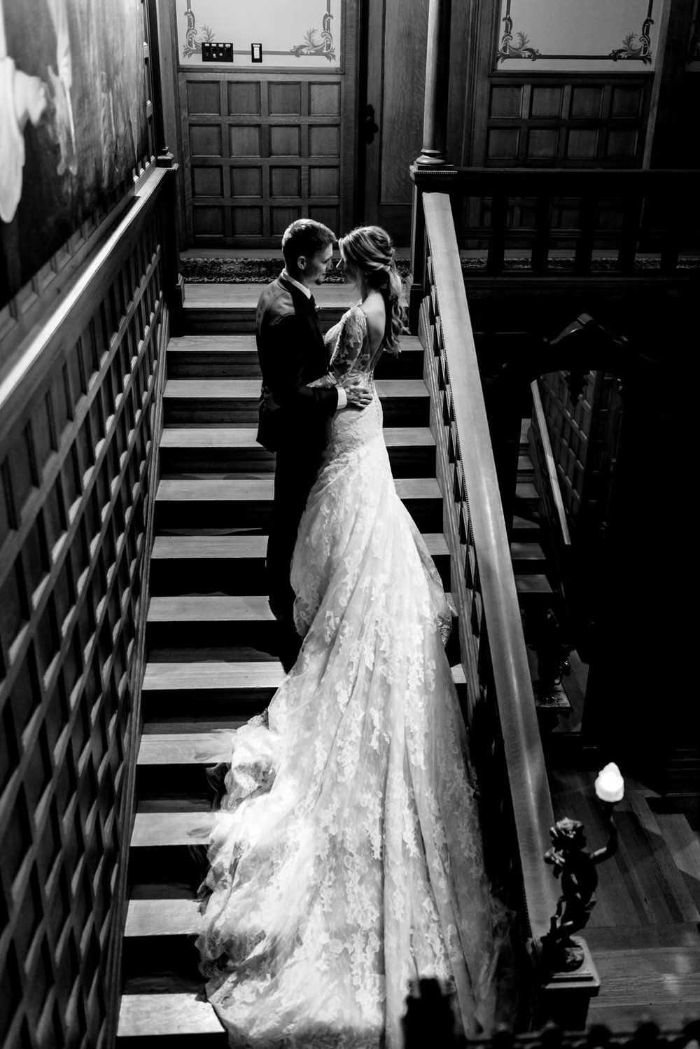 Romantic Bride And Groom Portraits On The Stairs At