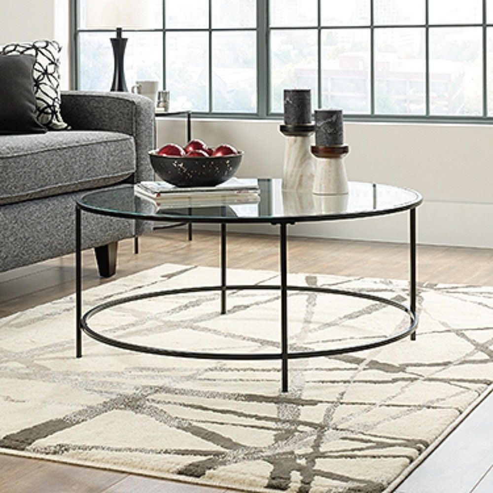 Sauder Soft Modern Round End Side Table Black Clear Glass Check Out This Great Product It Is Amazo Round Side Table Black Black Side Table Round Side Table [ 2048 x 2048 Pixel ]