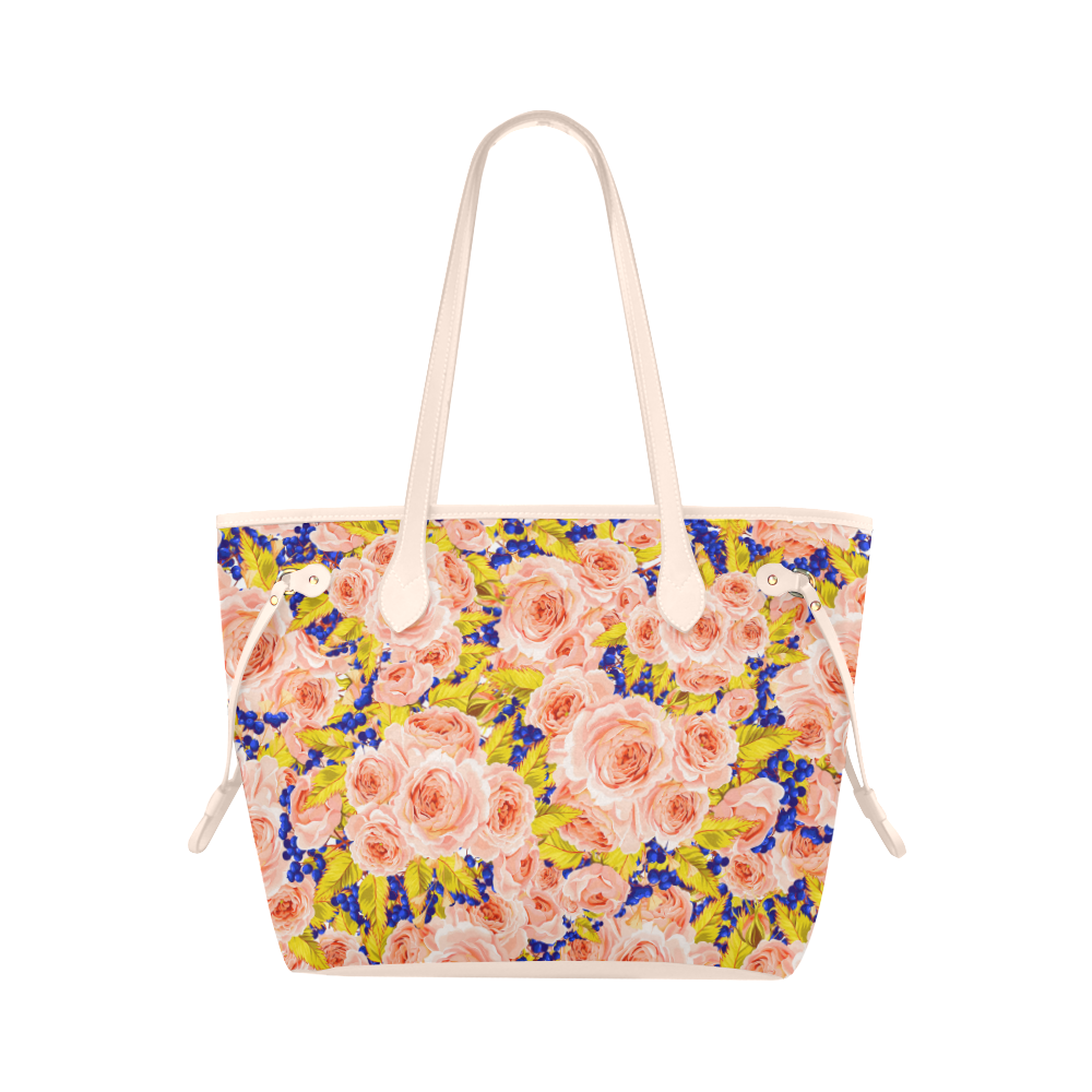 Rose Flower Clover Canvas Tote Bag Model 1661 Canvas Tote Bags