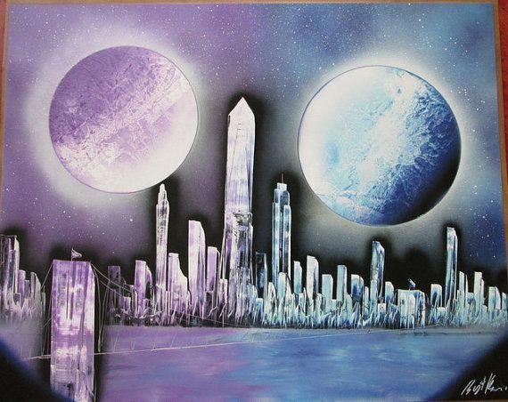 New York spray paint art,new york gift,new york spray painting,galaxy painting,space wall art,gift f #spraypainting
