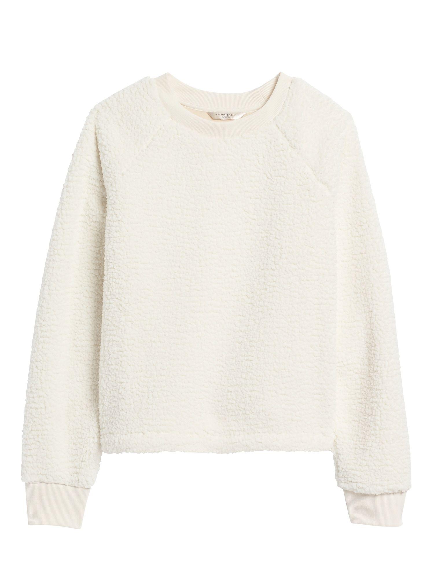 Petite Sherpa Fleece Crew Neck Sweatshirt Crew Neck Sweatshirt Business Casual Outfits Refined Clothing [ 2000 x 1500 Pixel ]