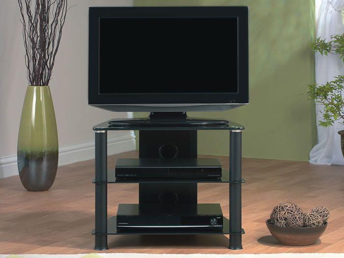 J007BB Meuble bas HIFI Support TV Verre et Aluminium Black 0.61m ...