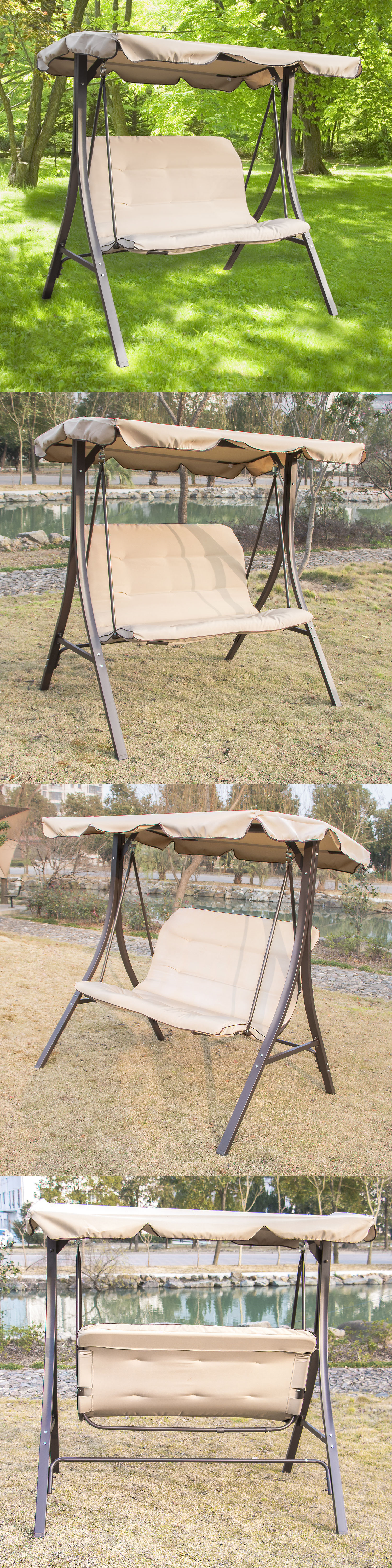 Benches 79678: Garden Outdoor Patio Porch Swing Hammock Chair W Canopy Yard  Furniture Loveseat