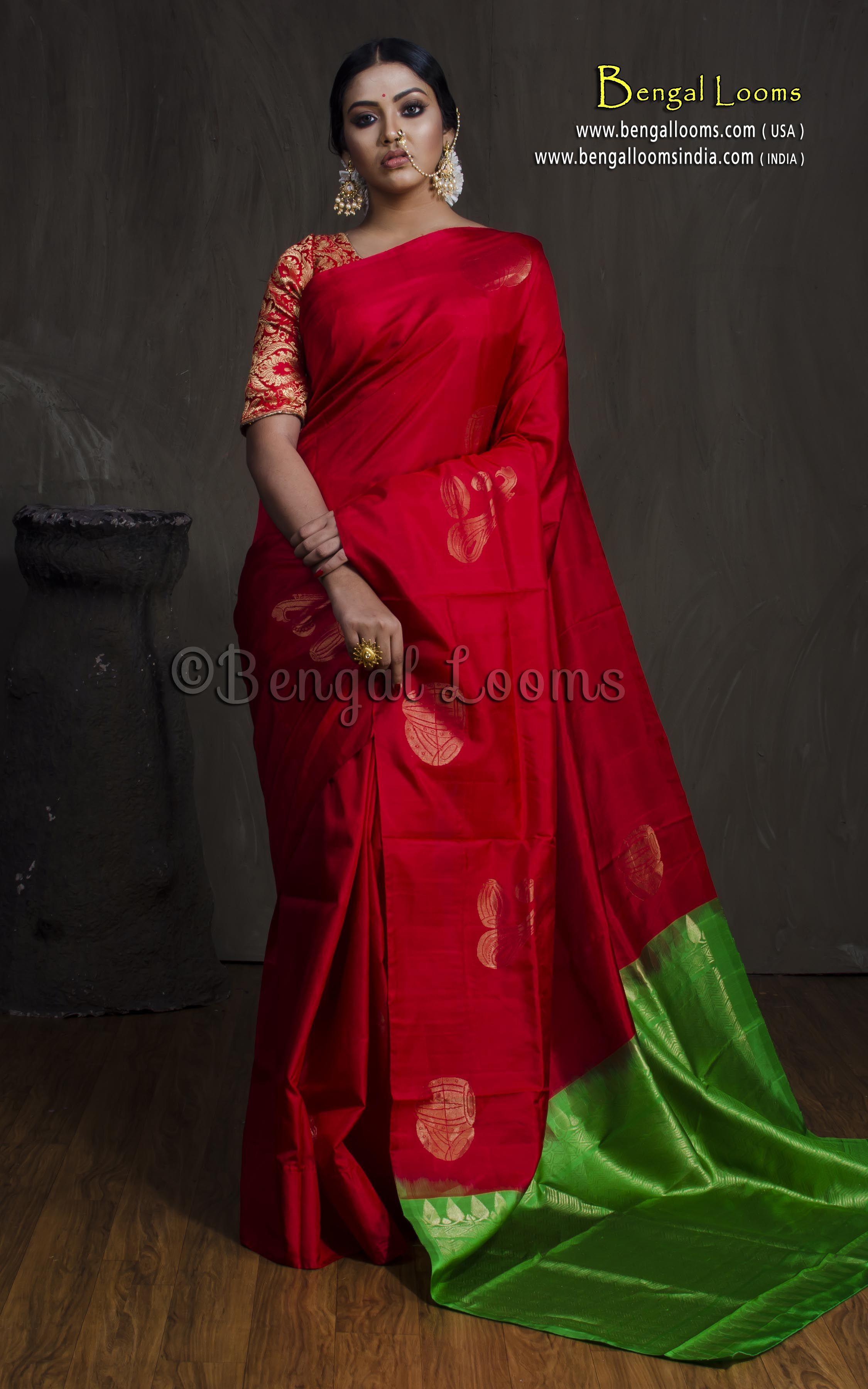 d849571acb Soft Silk Kanchipuram Saree in Red and Green | Kanchipuram Silk ...