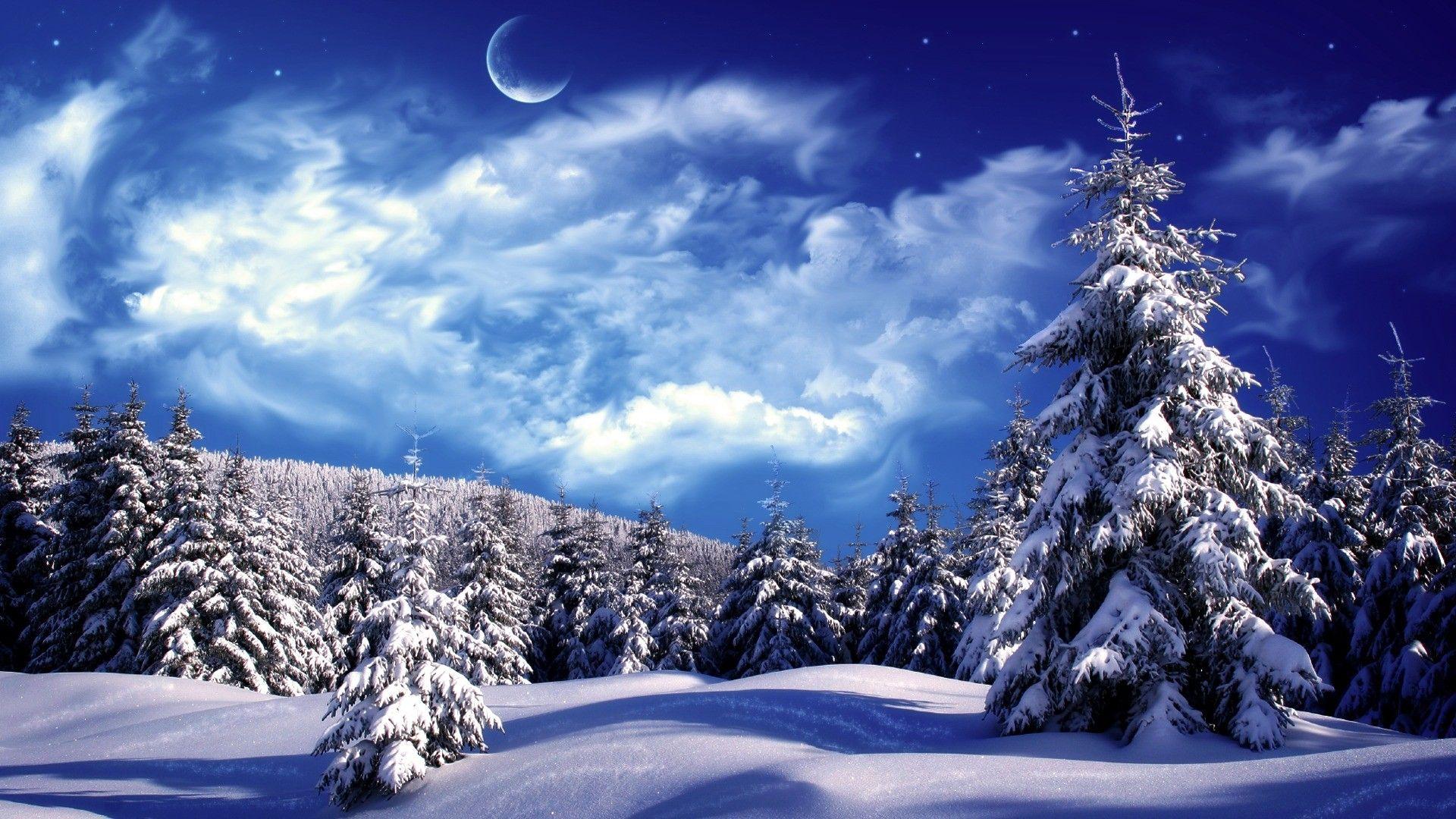 Cold Winter Night Fantastic Blue Sky Beautiful Nature Landscapes Desktop Wallpapers Awsome Landscape Wa Winter Scenery Winter Wallpaper Hd Winter Landscape