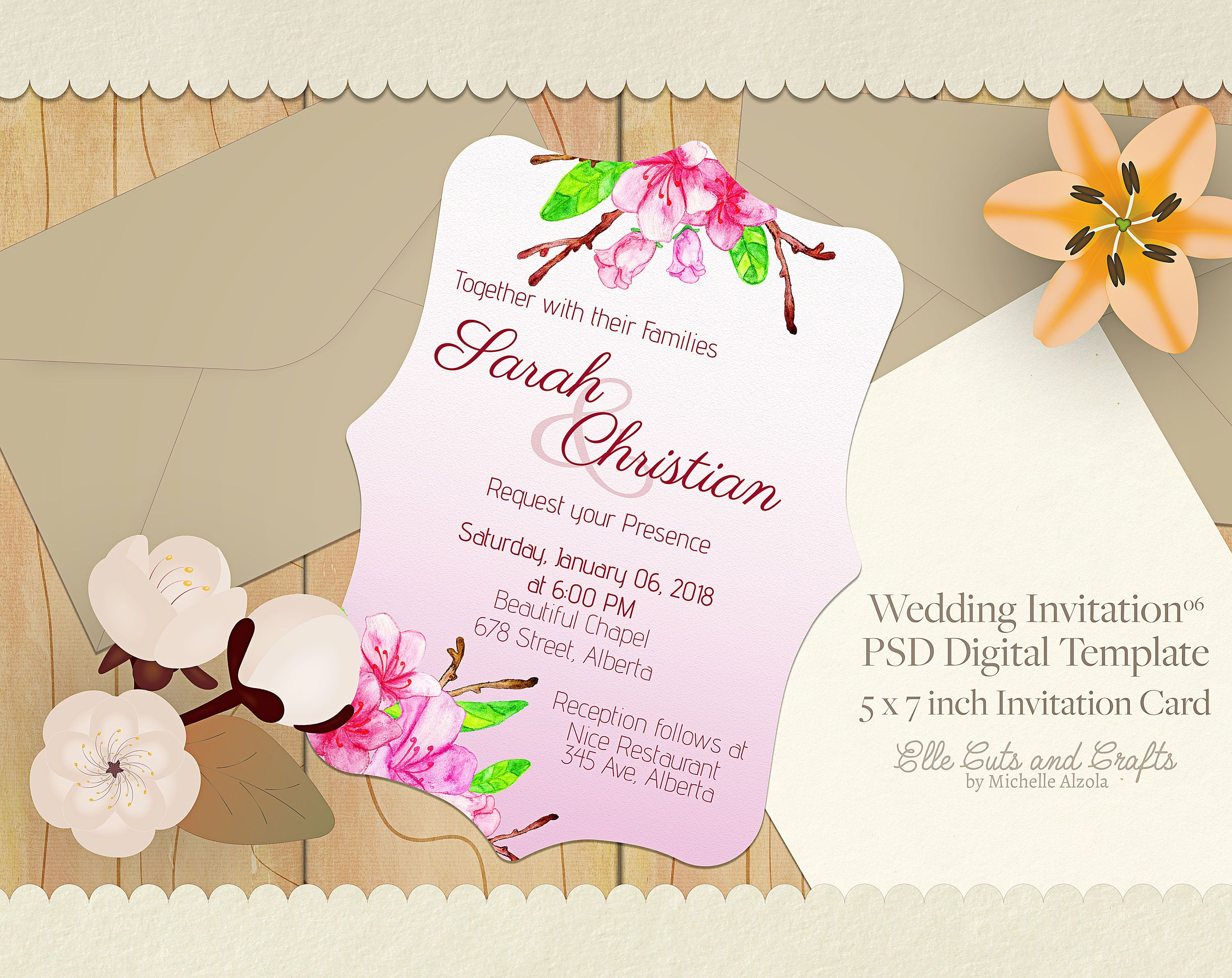 Wedding Invitation Template - Digital Download, Digital Template ...