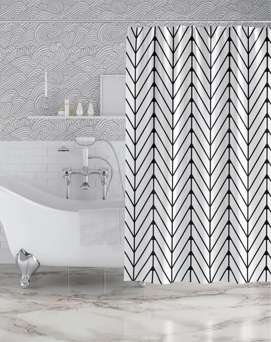 Herringbone Pattern Custom Shower Curtain Black White Geometric