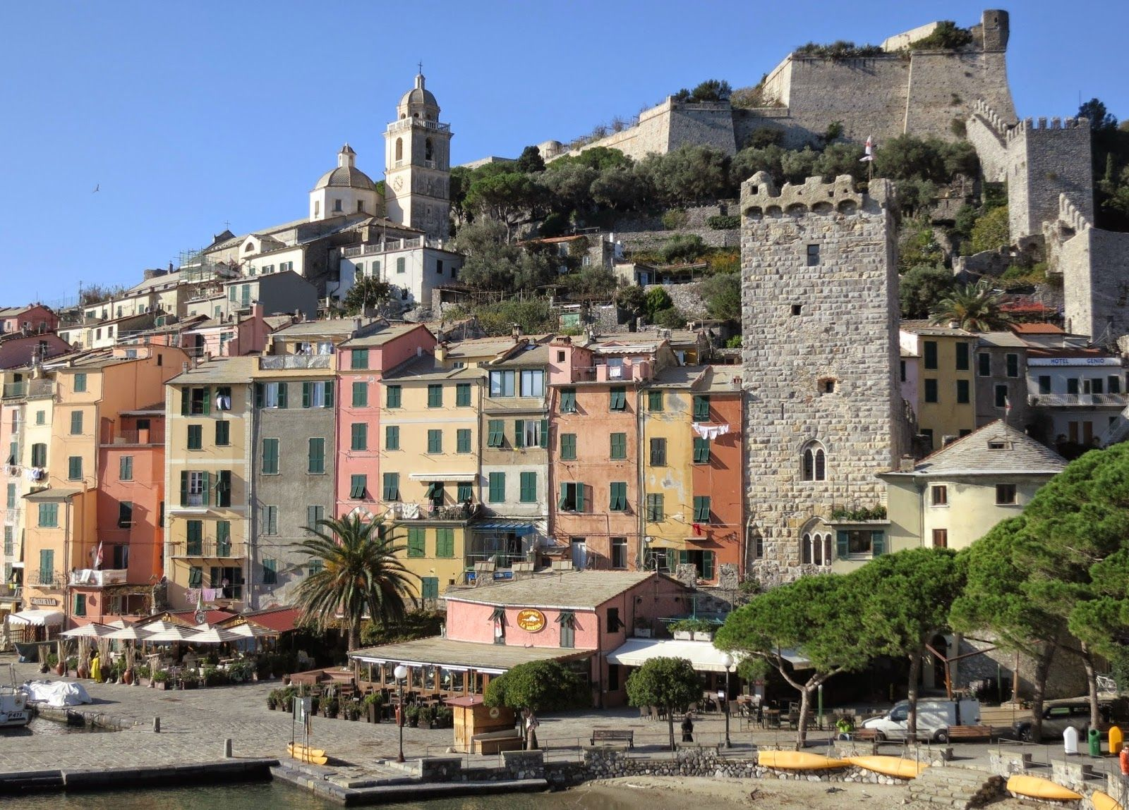 The Palazzata, San Lorenzo Church, Castle Doria, Capitolare Tower. Portovenere, Liguria