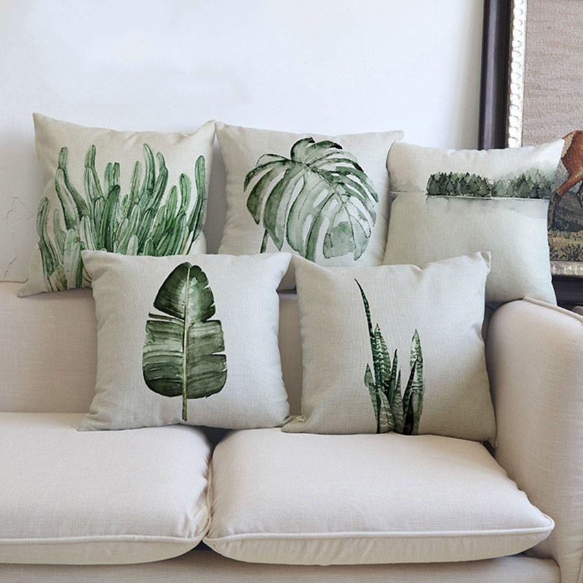 Plantes Tropicales Feuilles De Palmier Cactus Coussin Taie