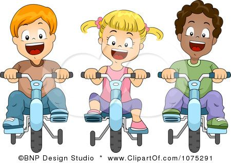 Clipart Happy Kids Riding Bikes With Training Wheels