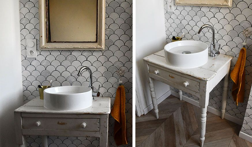 Tuto Detournez Une Table Ancienne En Meuble Vasque Pour Une Salle De Bains Vintage Meuble Vasque Meuble Pour Vasque A Poser Diy Meuble Salle De Bain