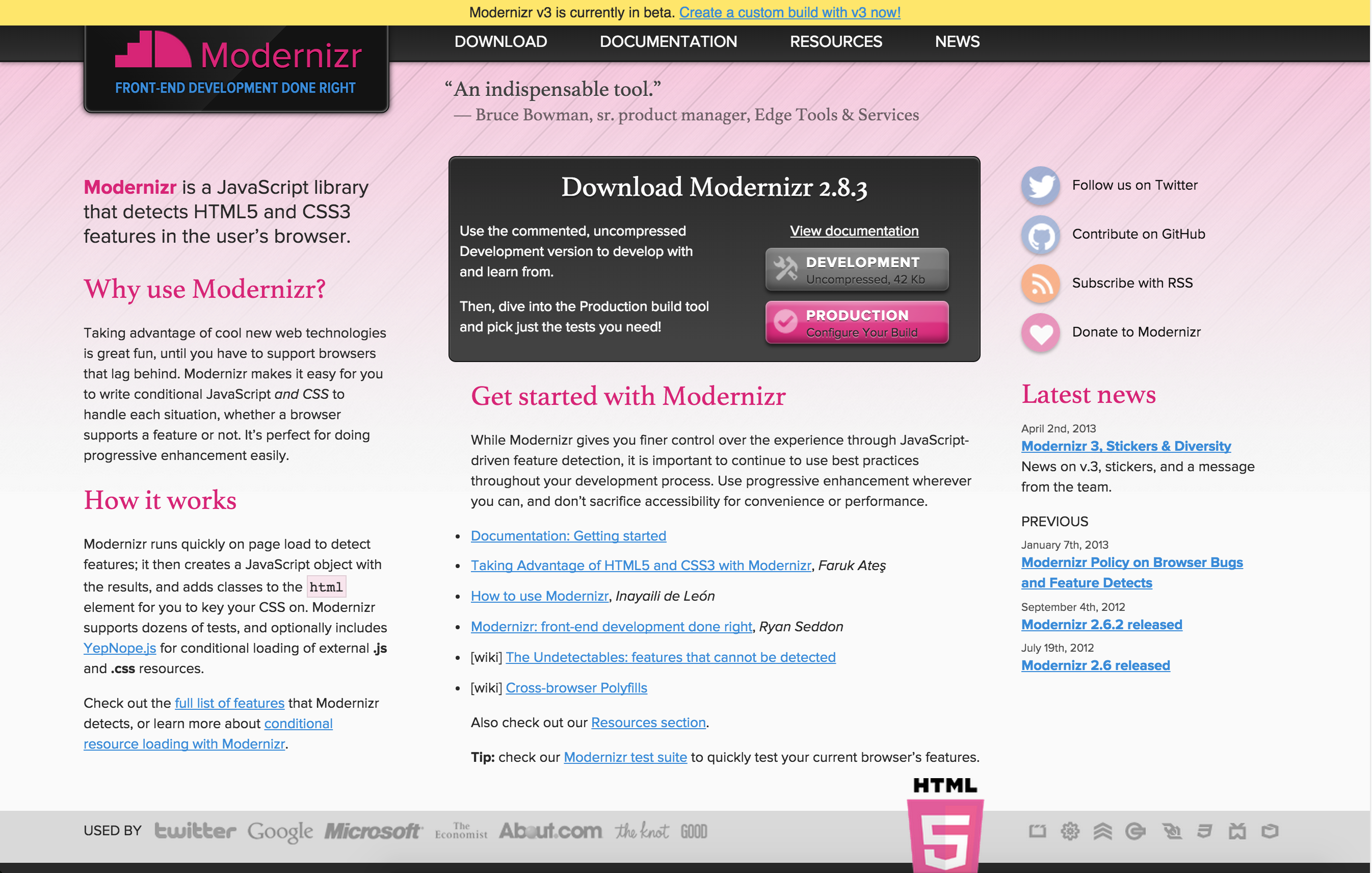Modernizr Is A Javascript Library That Detects Html5 And Css3 Features In The User S Browser Web Development Design Web Design Web Design Tools