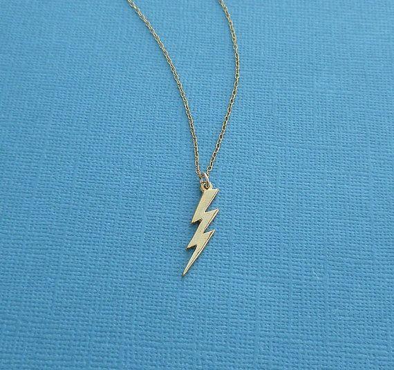 Gold Lightning Bolt Necklace 14kt By Cravejewelrydesign 50 00