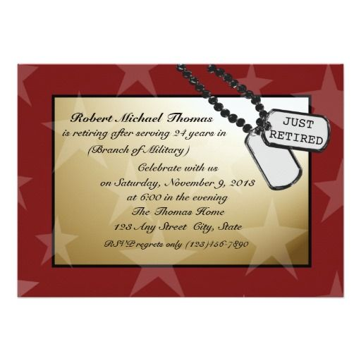 Red and gold star design with dog tags and room for two personal photos.  Military Retirement party invitation can be customized with your own text and font styles.