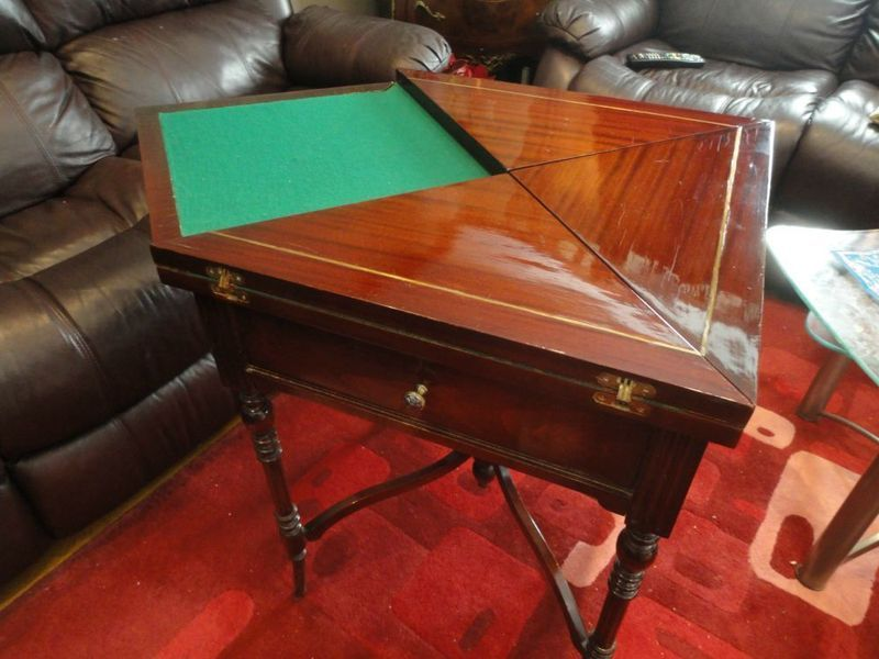 Square Wood Game Or Card Table Folding Out From Quarters To