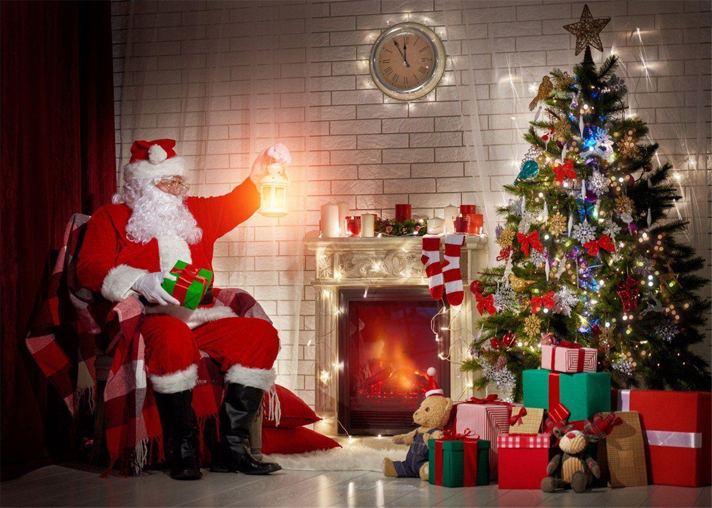 7x5ft Kate Digital Backdrop Christmas Tree Brick Background Santa Claus Indoor