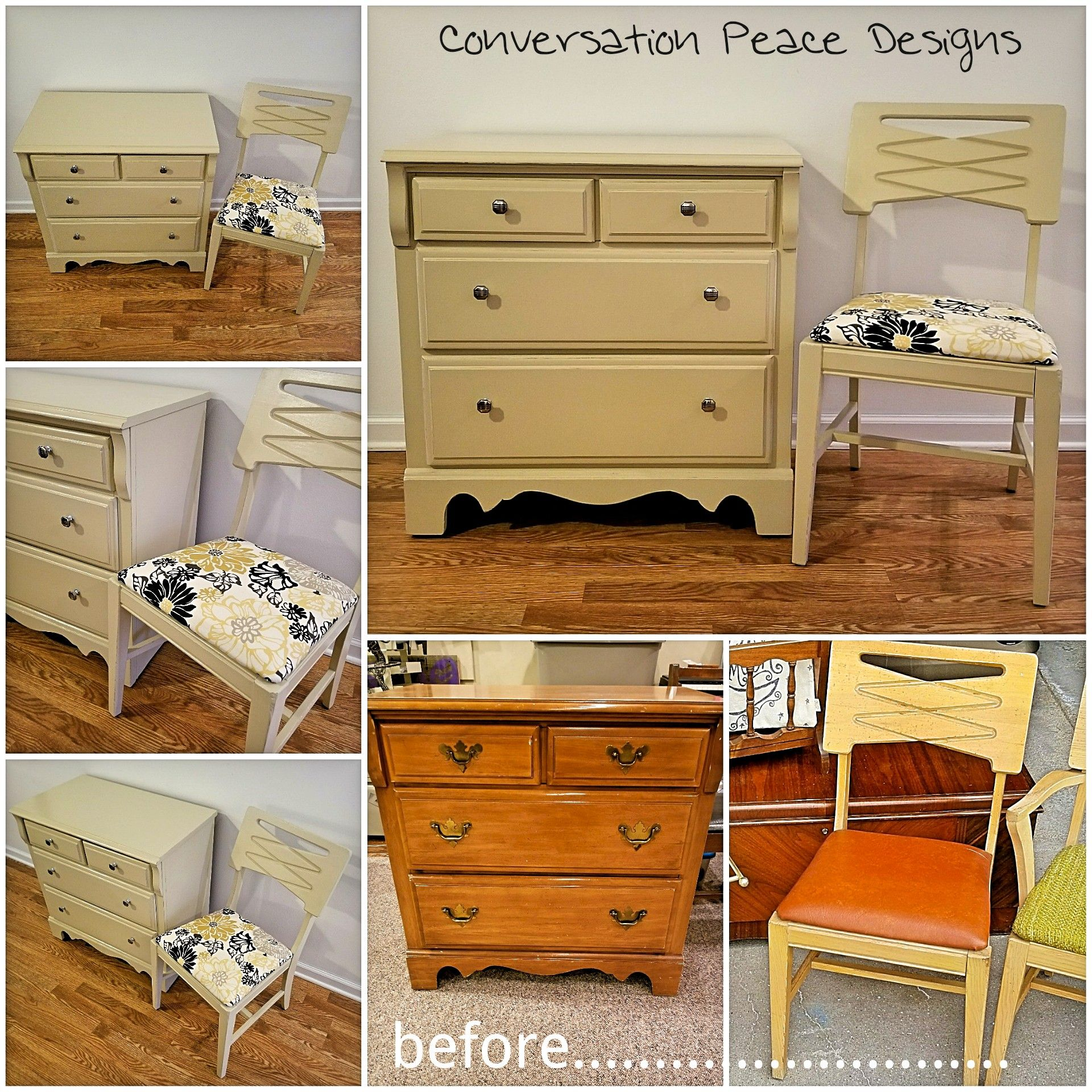 Vintage Furniture Custom Refinish In Ivory Mid Century Modern Chair