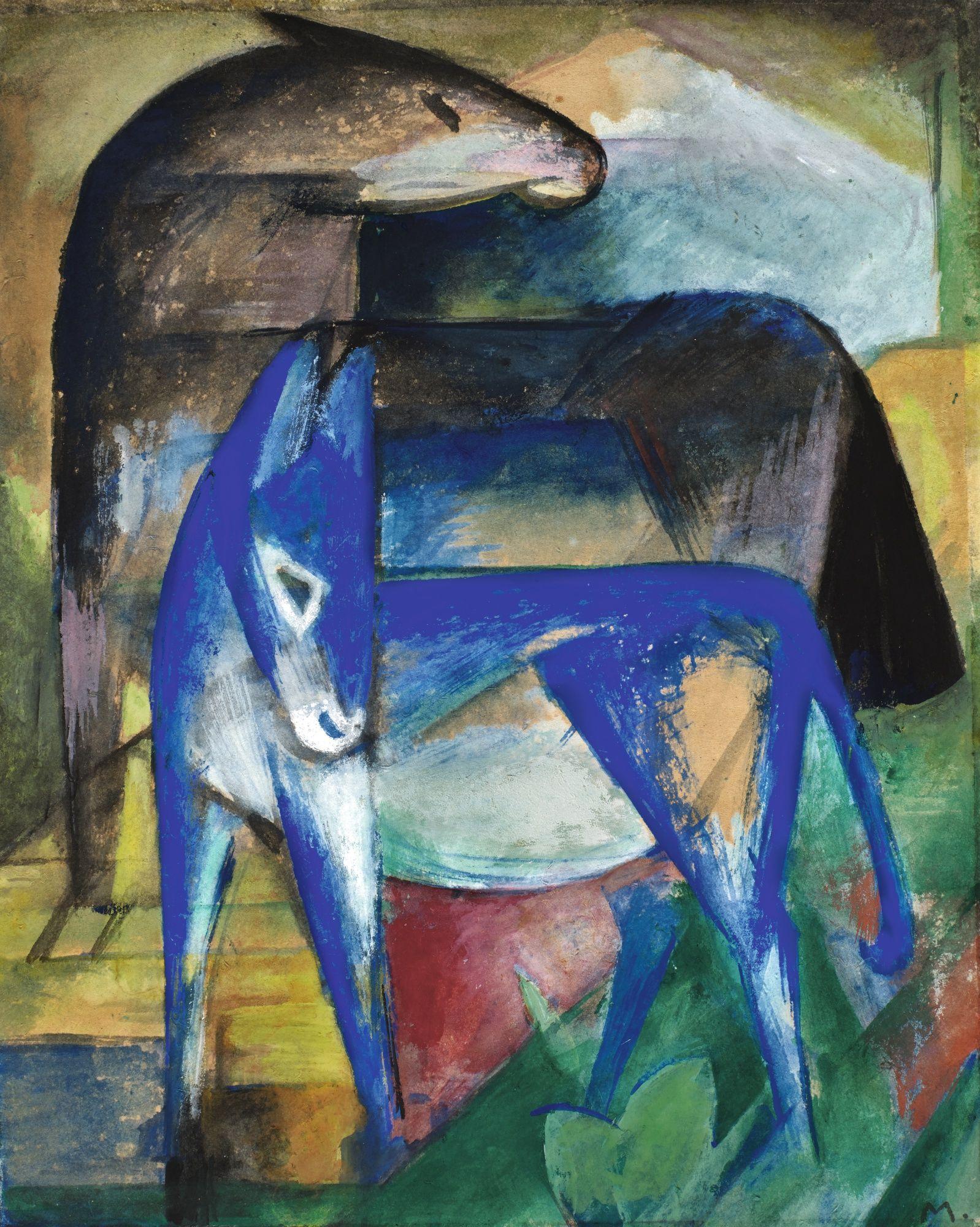 marc, franz zwei blaue esel (pfe     animals     sotheby's l20002lotbfrg7en