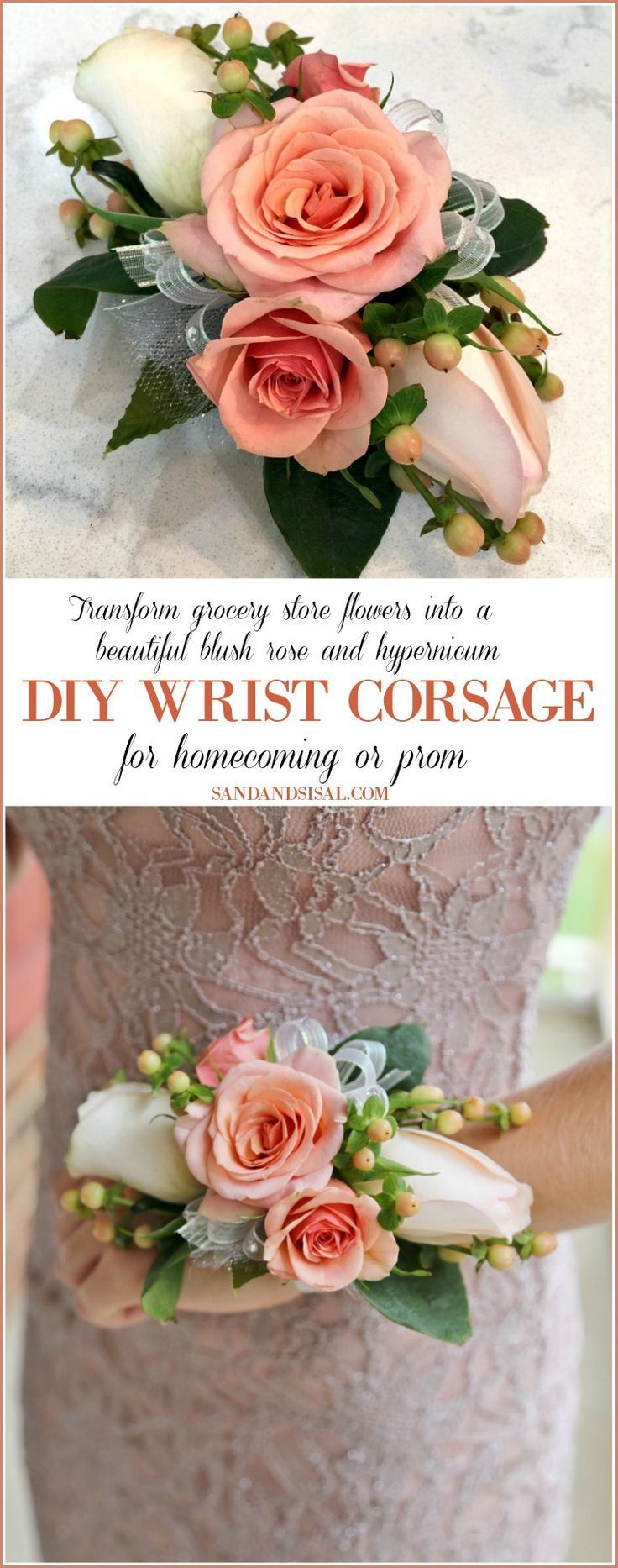 DIY Wrist Corsage for Homecoming or Prom - Sand and Sisal