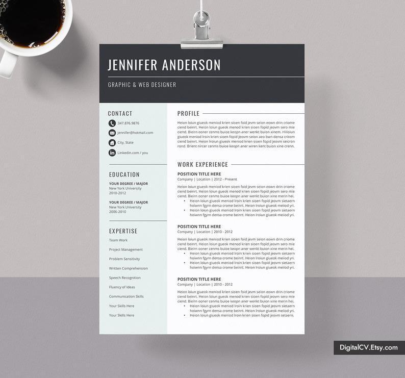Modern resume template cv cv template professional