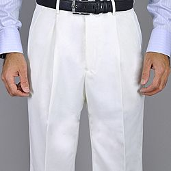Men's White Single Pleat Pants | Products and Pants