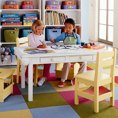 kids 39 adjustable activity table from land of nod legs come in three heights art room. Black Bedroom Furniture Sets. Home Design Ideas