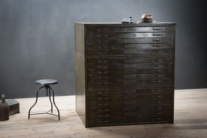 USA, 1930s, Vintage Industrial Shippley Hamilton Artist/Architect Flat File Drawing Cabinet/Chest. Steel and Brass Construction. Highly Functional, Smooth Rolling Drawers. Consists of 3 Modular Cabinets. The Top 2 Cabinets have 5 Drawers each and the bottom Cabinet has 6. Solid and Sturdy. The exterior has a Rich Time Worn Patina, show some Scratches and Dings. The Interior of the Drawers are Very Clean. Solid Brass Drawer Pulls. factory20.com