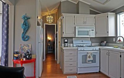 Beach Style Manufactured Home Makeover Mobile Home Renovation - After - Kitchen 2Mobile Home Renovation - After - Kitchen 2