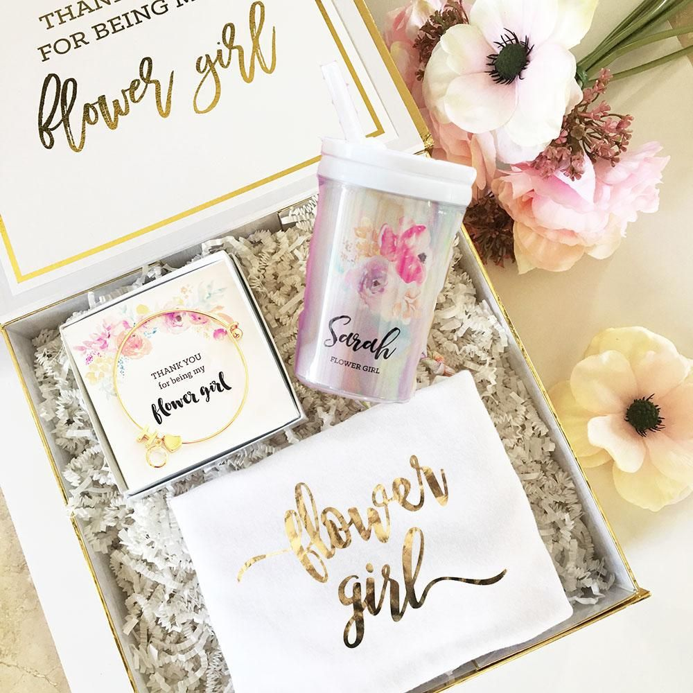Glitzy Flower Girl Gift Box Gifts for wedding party