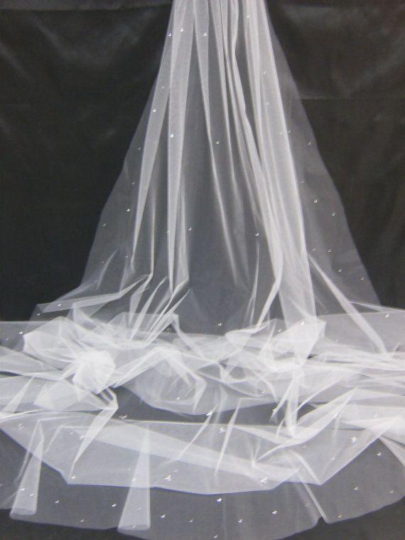 1 Tier Cathedral Cut//No Edge Wedding Bridal Veil Plain Swarovski Crystal Pearls