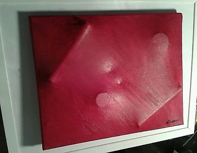 """COZZANI """"Red work """"Estroflessione 40x30 cm dipinto opera"""
