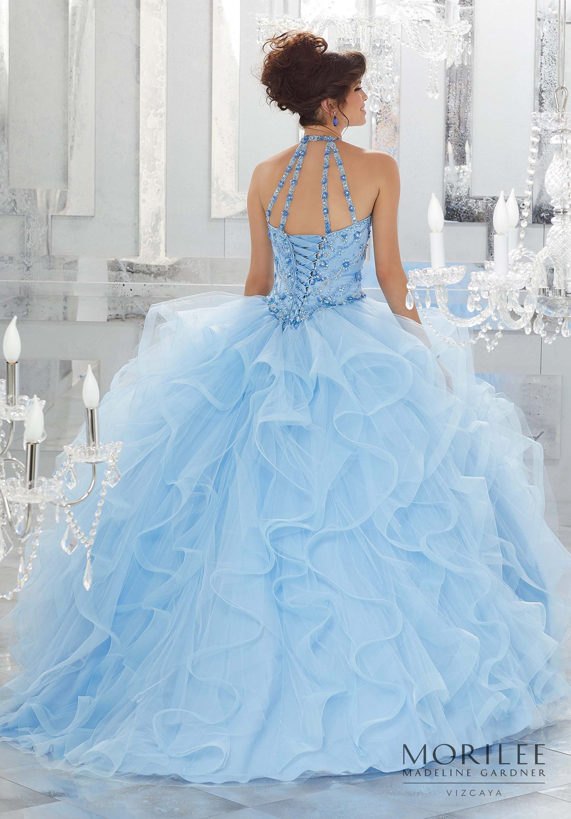 Blue Cinderella Tulle Princess Ball Gown Quinceañera Dress Featuring ...
