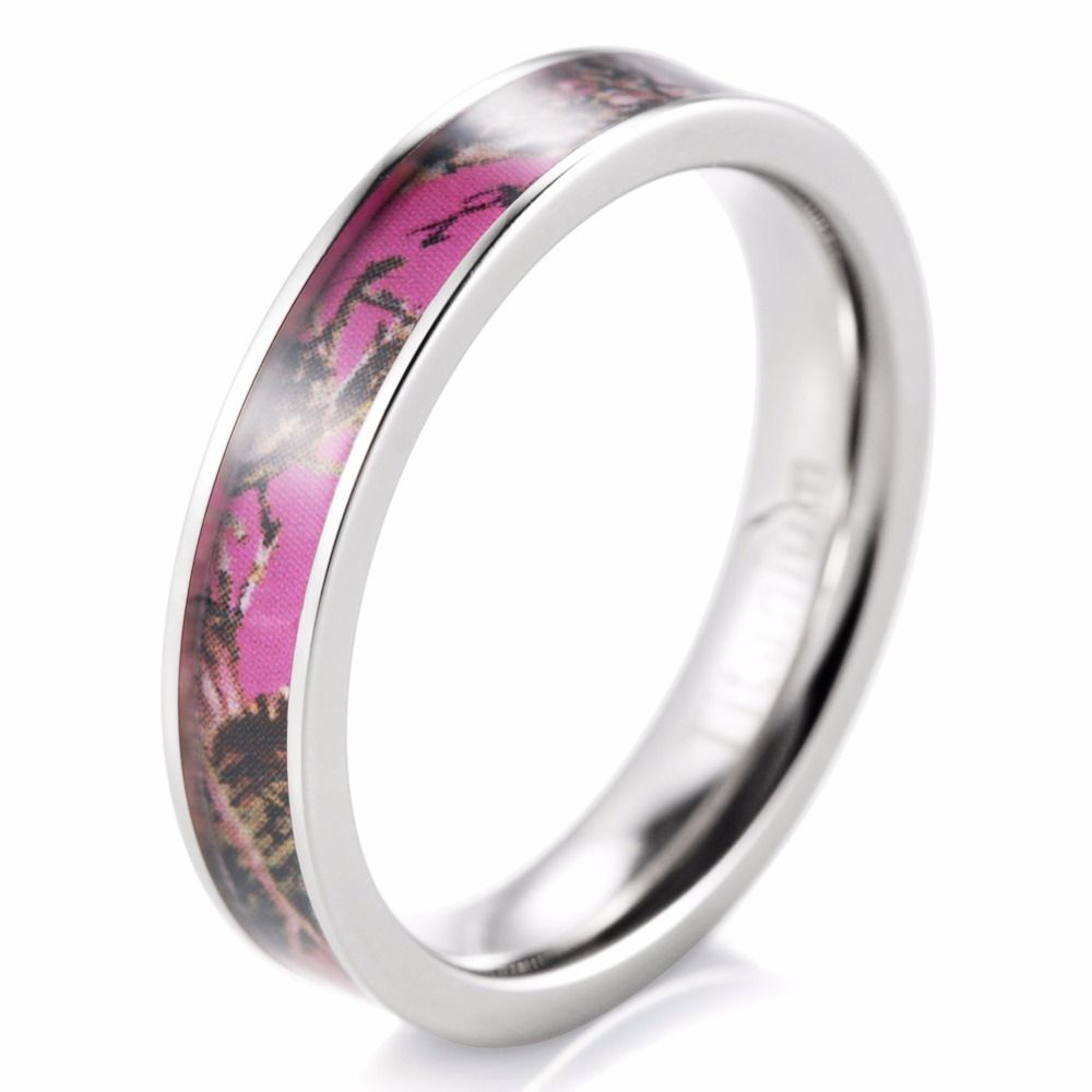 Ring Shardon Women Thin Anium Pink Camo Anniversay Wedding
