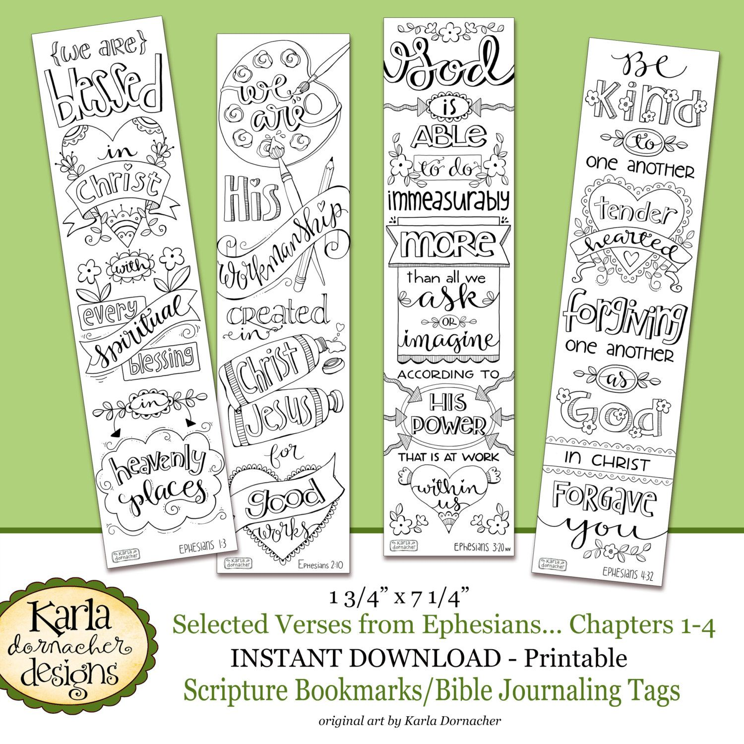 Ephesians 1-4 Color Your Own Bookmarks Bible Journaling Illustrated ...
