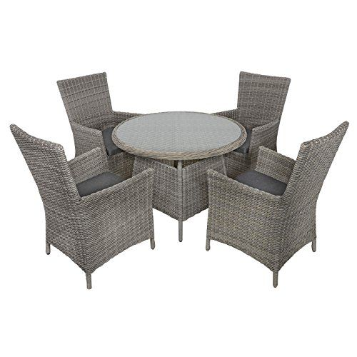 Belize Rattan Wicker 4 Seat Garden Patio Furniture Dining Table Chairs Set Furniture Patio Belize