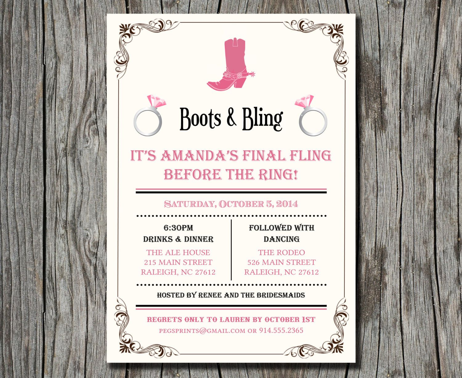 Boots and Bling Bachelorette Invitation - Boots and Bling ...