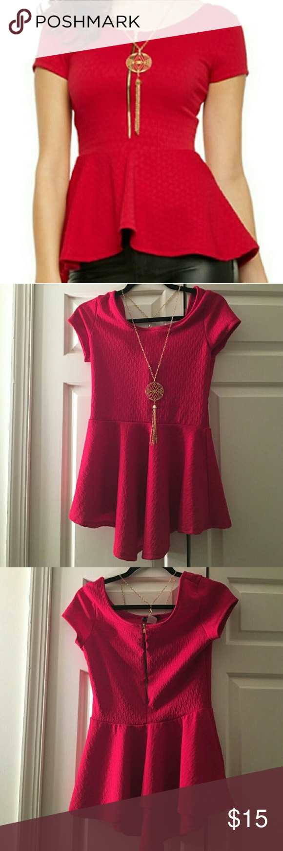 Beautiful Preplum! Size large but fits like a medium so it is listed as a medium. Has stretch to it. Smoke free home! Necklace comes with and is not attached to the actual blouse. It is a beautiful red color! The zipper is on the front and that look is definitely in style. Would look fabulous with some leggings and booties and great for a night out on the town or a date. Tops