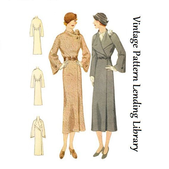 1932 Ladies Coat With Flower Accent - Reproduction Sewing Pattern ...
